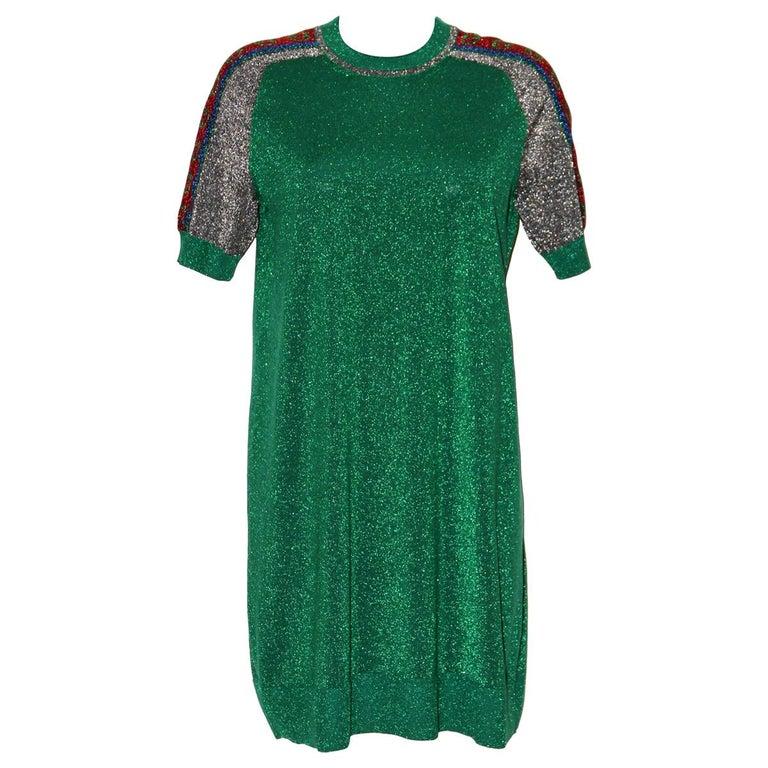 Gucci Green Metallic T-Shirt Dress For Sale