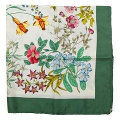 Gucci Green & Multicolor Flora Scarf