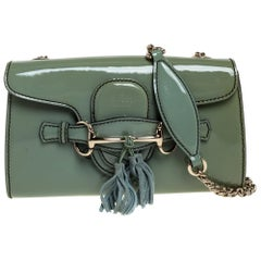 Gucci Green Patent Leather Emily Chain Shoulder Bag