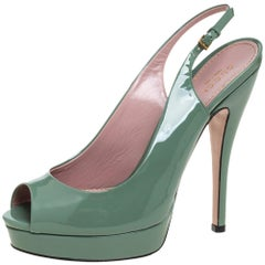 Gucci Green Patent Leather Peep Toe Slingback Sandals Size 38