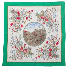 Gucci Green Rabbit Flowers Silk Scarf
