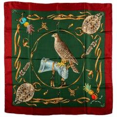 Gucci Green Red Silk Birds Scarf