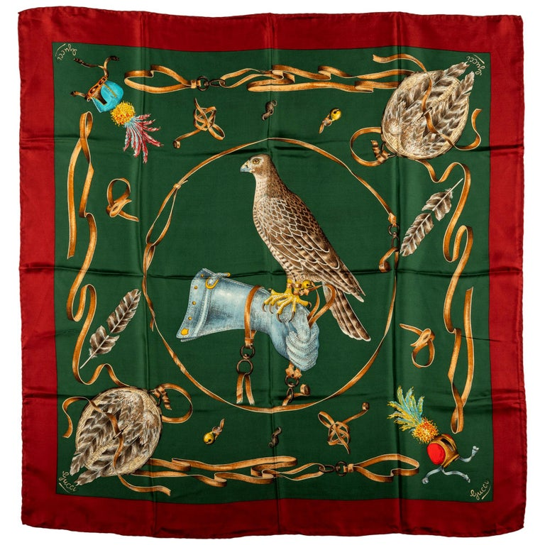 Gucci Green Red Silk Birds Scarf For Sale