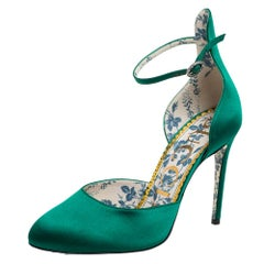 Gucci Green Satin D'orsay Ankle Strap Pumps Size 37.5