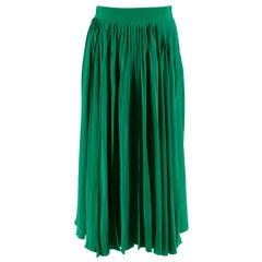 Gucci Green Silk Pleated Midi Skirt 42