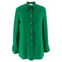 Gucci Green Silk Shirt with Pearl Buttons & Necktie 40