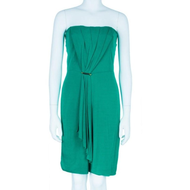 Gucci Green Strapless Gathered Cocktail Dress M In Excellent Condition In Dubai, Al Qouz 2