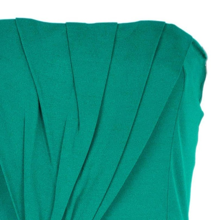 Women's Gucci Green Strapless Gathered Cocktail Dress M