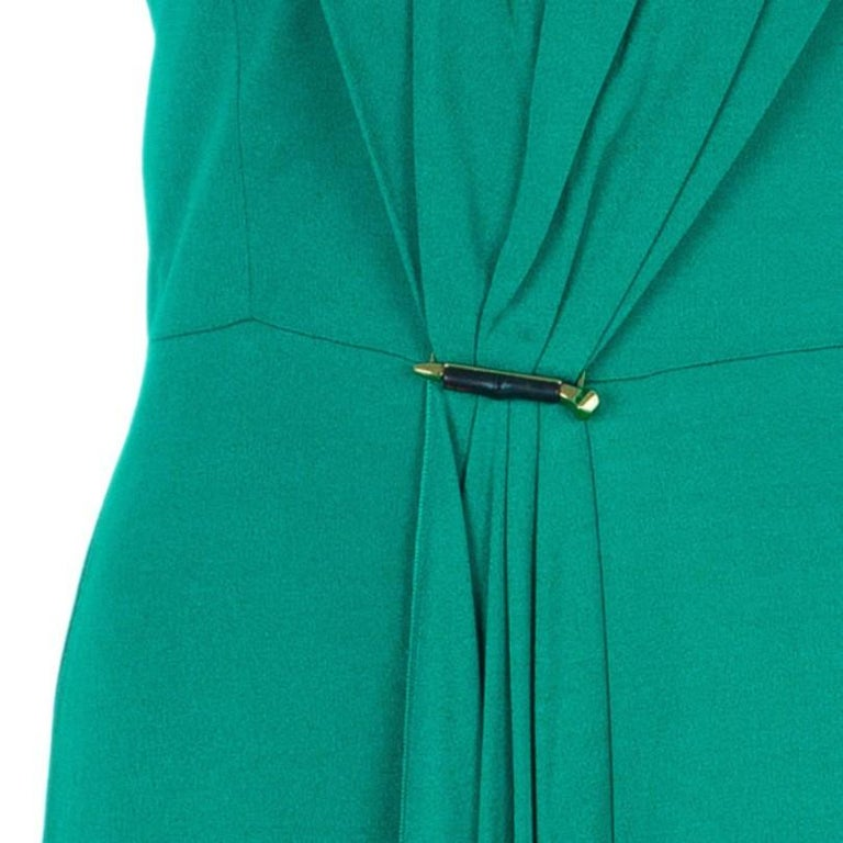 Gucci Green Strapless Gathered Cocktail Dress M 1