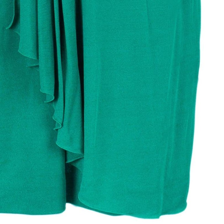 Gucci Green Strapless Gathered Cocktail Dress M 2