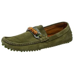 Gucci Green Suede Bamboo Horsebit Loafers Size 42.5