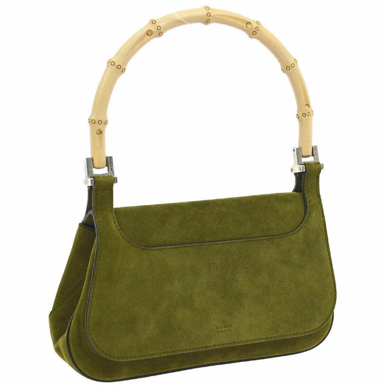 Gucci Green Suede Bamboo Top Handle Small Party Evening Satchel Bag  Suede Bamboo Silver tone hardware Woven lining Made in Italy Handle drop 5