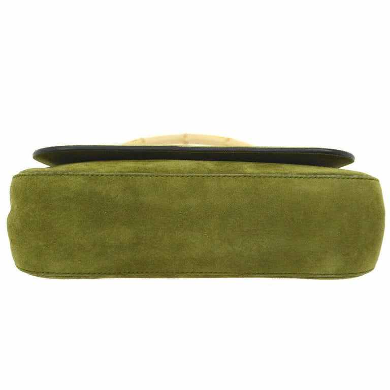 Gucci Green Suede Bamboo Top Handle Small Party Evening Satchel Bag In Good Condition In Chicago, IL