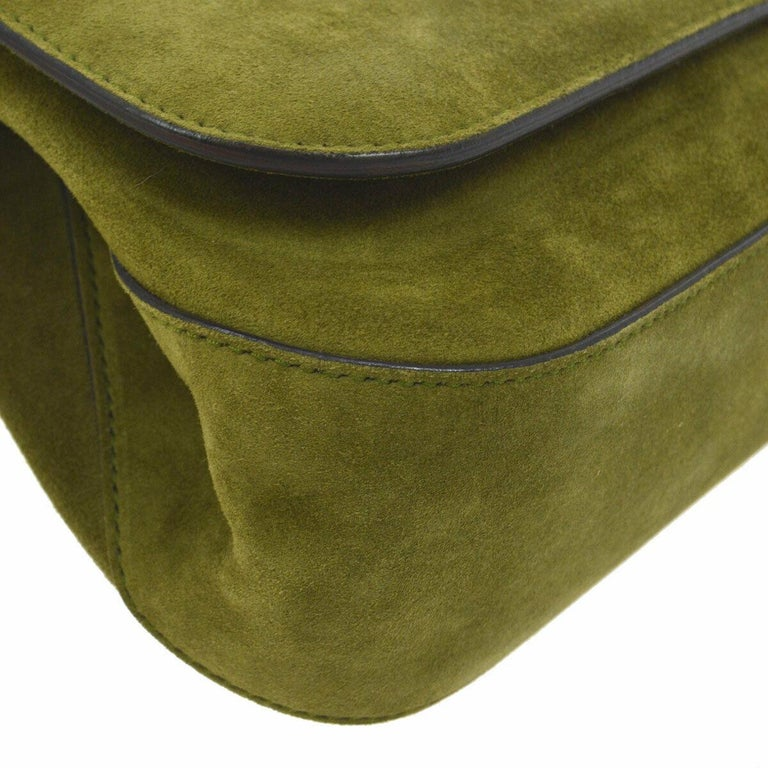 Women's Gucci Green Suede Bamboo Top Handle Small Party Evening Satchel Bag