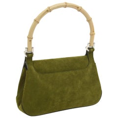Gucci Green Suede Bamboo Top Handle Small Party Evening Satchel Bag