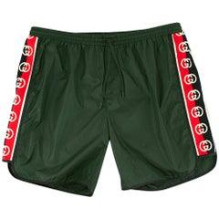 Gucci Green Swim Shorts with Logo Stripes 52