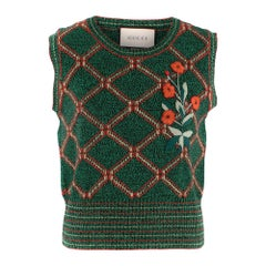 Gucci Green Wool Knit Embroidered Sleeveless Top SIZE M