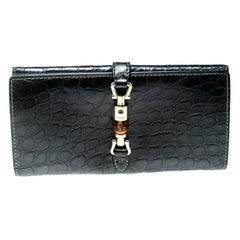 Gucci Grey Croc Embossed Leather Bamboo New Jackie Continental Wallet