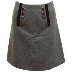 Gucci Grey Fall 2007 Wool Sailor Button Skirt