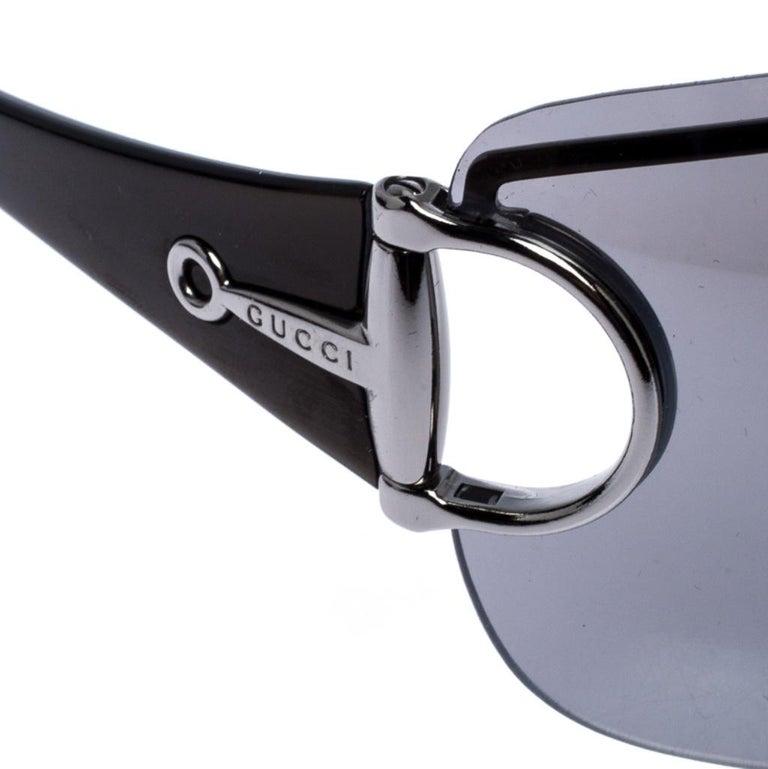 Gucci Grey GG 2711/S Horsebit Shield Sunglasses For Sale 2