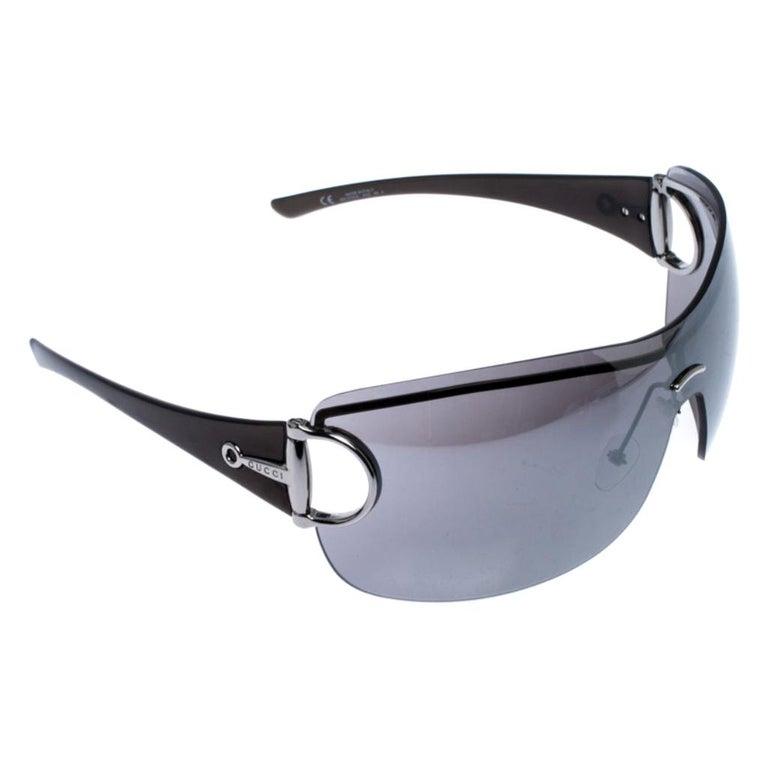 Gucci Grey GG 2711/S Horsebit Shield Sunglasses For Sale