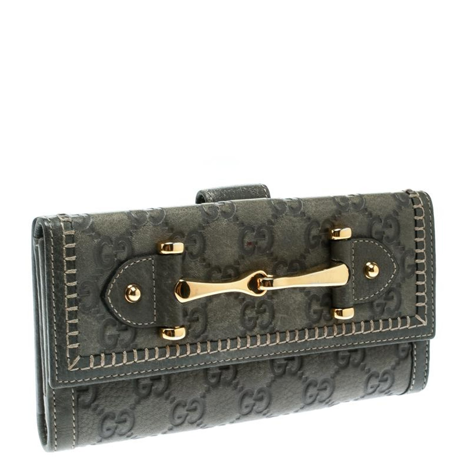 578cd60d1c6858 Gucci Grey Guccissima Leather Continental Wallet For Sale at 1stdibs