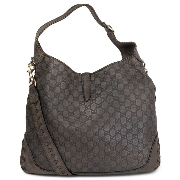 Black  GUCCI grey GUCCISSIMA leather NEW JACKIE LARGE Hobo Bag For Sale