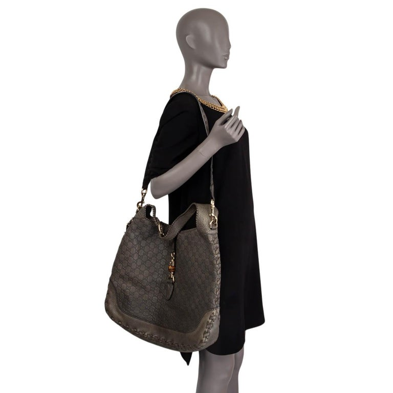 GUCCI grey GUCCISSIMA leather NEW JACKIE LARGE Hobo Bag For Sale 3