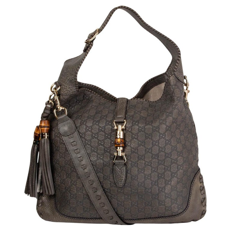 GUCCI grey GUCCISSIMA leather NEW JACKIE LARGE Hobo Bag For Sale