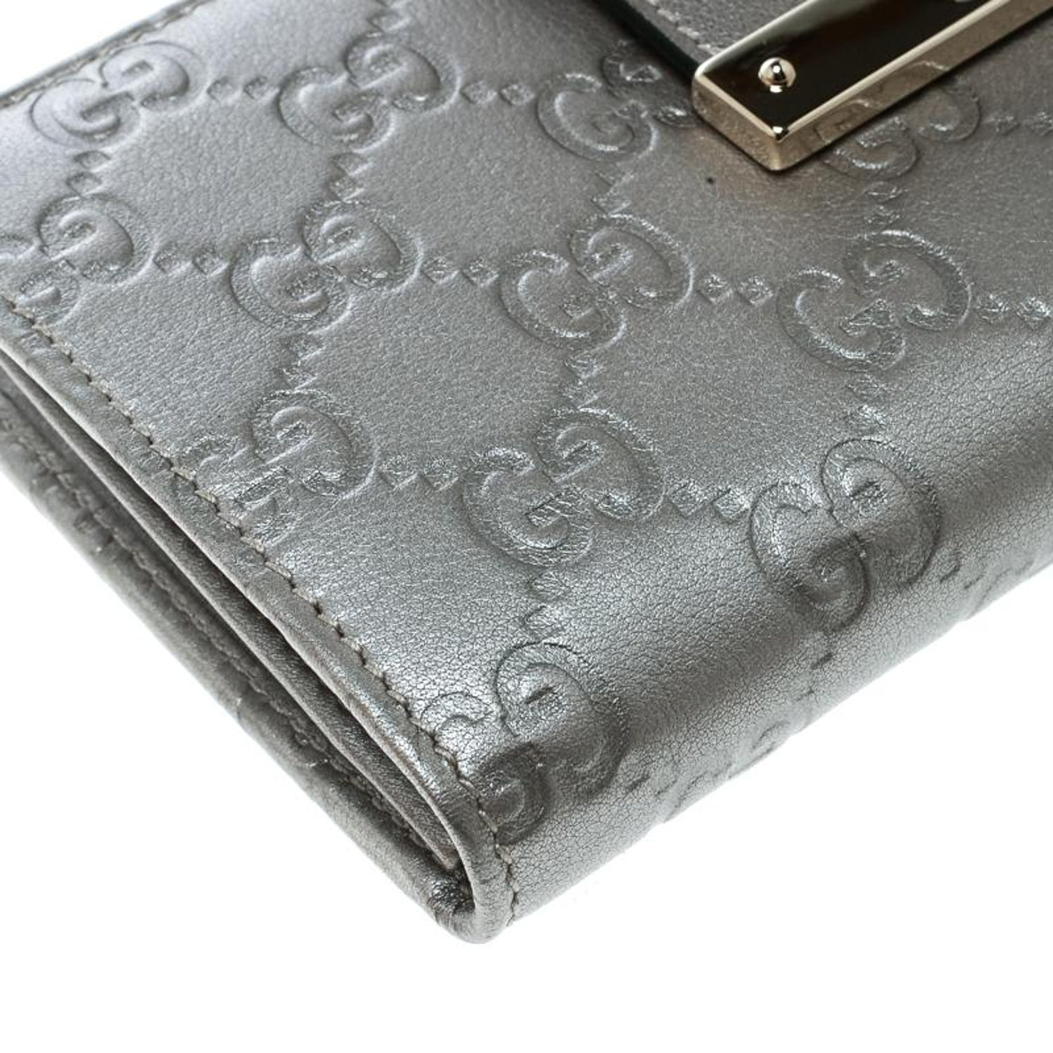 86136a134e63 Gucci Grey Guccissima Leather Web Logo Continental Wallet For Sale at  1stdibs