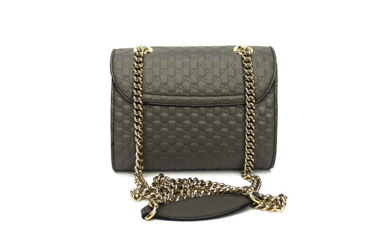Black Gucci Grey Leather Emily Bag For Sale