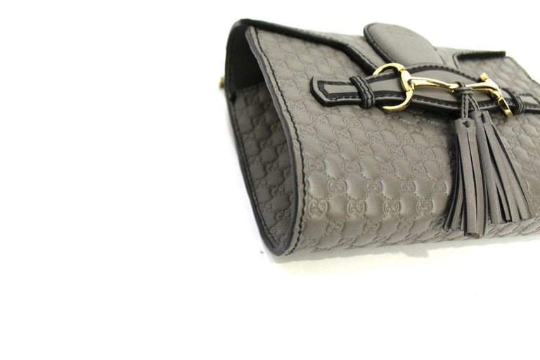 Women's Gucci Grey Leather Emily Bag For Sale