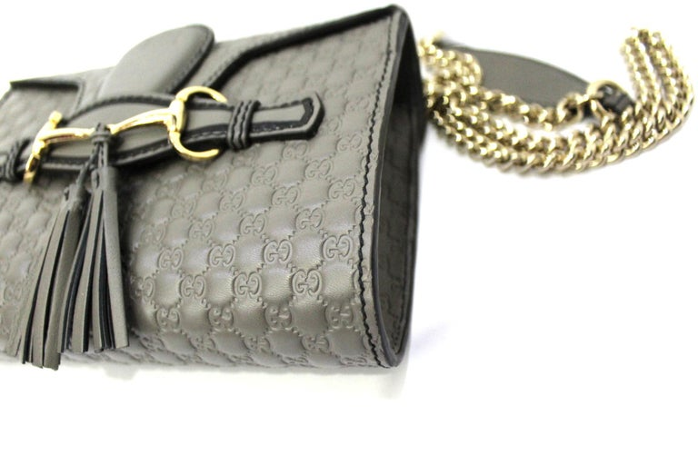 Gucci Grey Leather Emily Bag For Sale 1