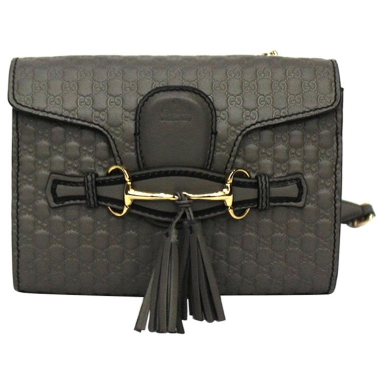 Gucci Grey Leather Emily Bag For Sale