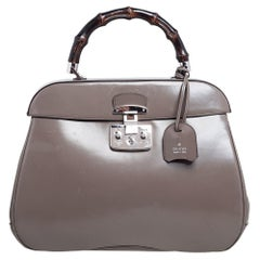 Gucci Grey Leather Lady Lock Bamboo Large Top Handle Bag