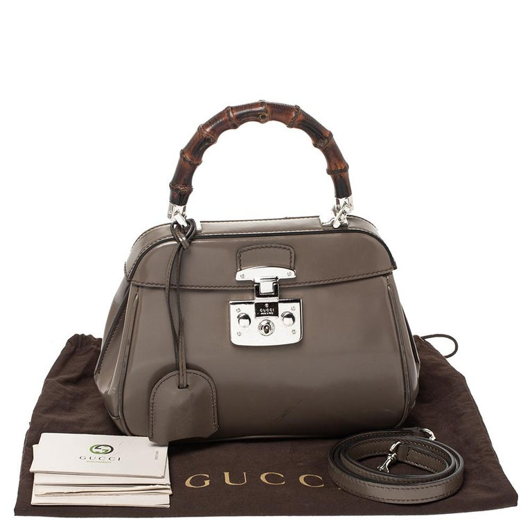 Gucci Grey Leather Lady Lock Bamboo Top Handle Bag For Sale 5