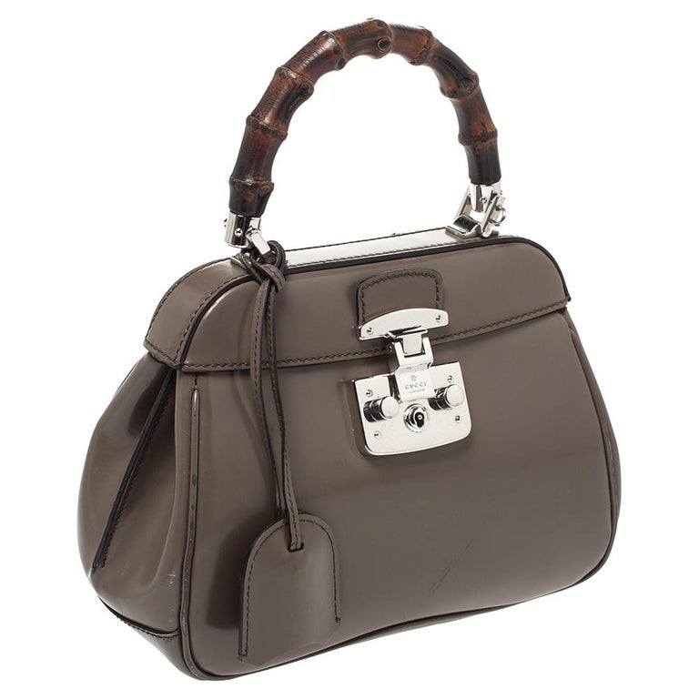 Gucci Grey Leather Lady Lock Bamboo Top Handle Bag In Good Condition For Sale In Dubai, Al Qouz 2