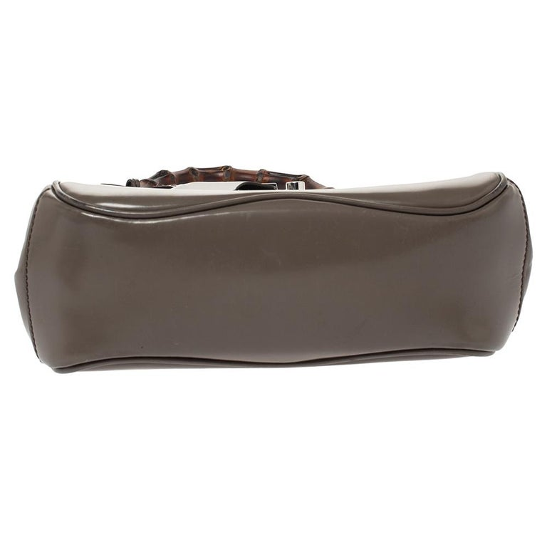 Women's Gucci Grey Leather Lady Lock Bamboo Top Handle Bag For Sale