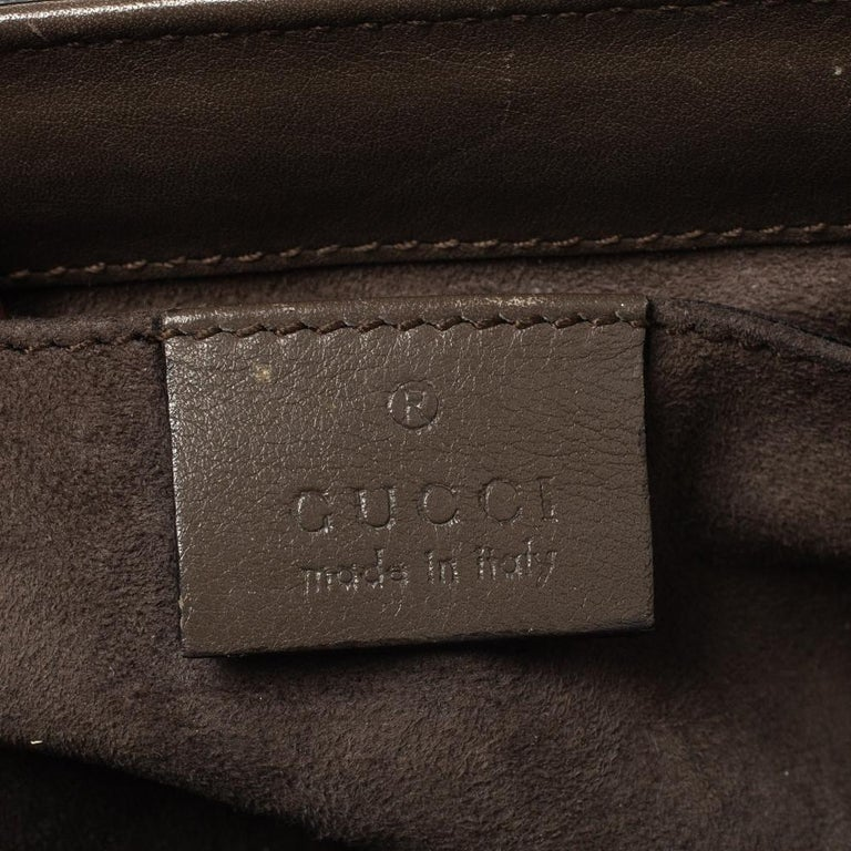 Gucci Grey Leather Lady Lock Bamboo Top Handle Bag For Sale 2