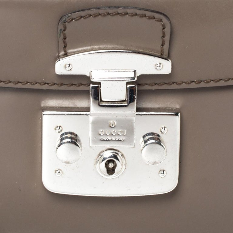 Gucci Grey Leather Lady Lock Bamboo Top Handle Bag For Sale 4