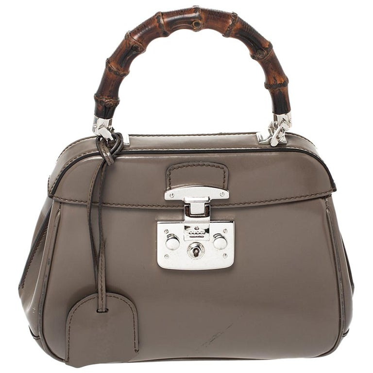 Gucci Grey Leather Lady Lock Bamboo Top Handle Bag For Sale