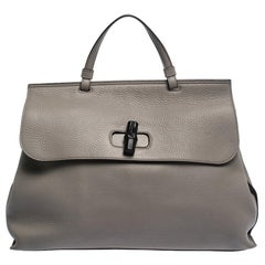 Gucci Grey Leather Large Bamboo Daily Top Handle Bag