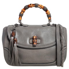 Gucci Grey Leather Large New Bamboo Tassel Top Handle Bag