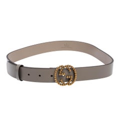 Gucci Grey Leather Studded Interlocking G Buckle Belt 85 CM
