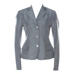 Gucci Grey Linen & Silk Blend Women's Blazer M