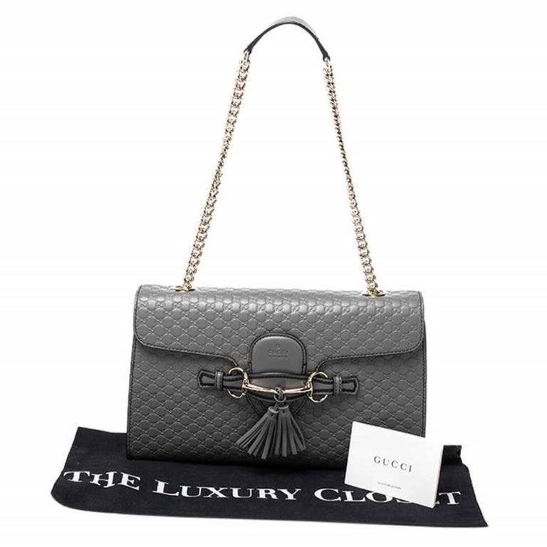 Gucci Grey Microguccissima Leather Medium Emily Chain Shoulder Bag For Sale 8
