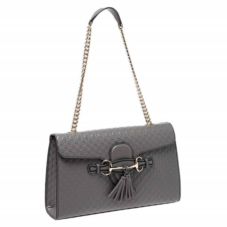 Women's Gucci Grey Microguccissima Leather Medium Emily Chain Shoulder Bag For Sale