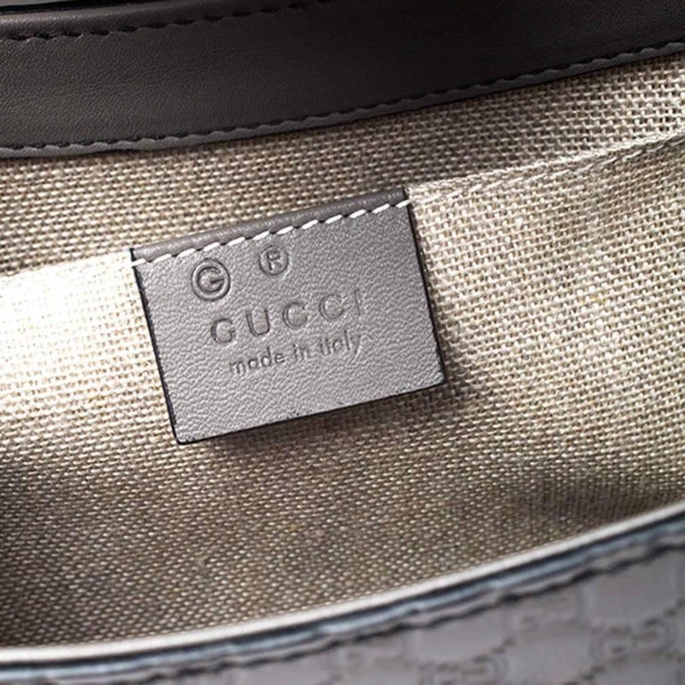 Gucci Grey Microguccissima Leather Medium Emily Chain Shoulder Bag For Sale 5