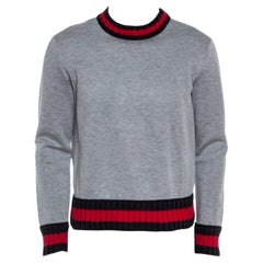 Gucci Grey Neoprene Contrast Trim Detail Sweatshirt S