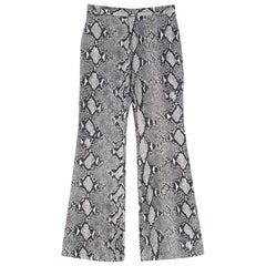 Gucci Grey Python Print Wide Leg Trousers IT 40